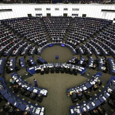 A general view shows the plenary room of the European Parliament during a voting session in Strasbourg, France, May 20, 2015.