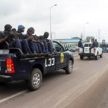 Congolese police taking part in the first Operation Likofi in Kinshasa, December 2, 2013.