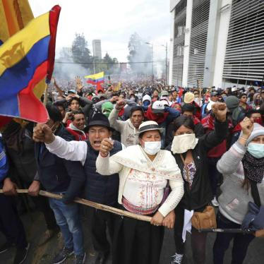 Anti-government demonstrators chant slogans against President Lenin Moreno and his economic policies during a protest in Quito, Ecuador, Tuesday, Oct. 8, 2019.