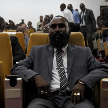 Mahamat Al Khatim, commander of the Central African Patriotic Movement (Mouvement Patriotique pour la Centrafrique, MPC), at the peace deal signing ceremony in Bangui on February 6. Fighters from the MPC have committed abuses that could amount to war crim