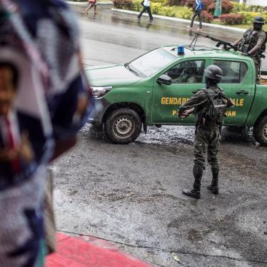 A patrol of Cameroonian gendarmes in the Omar Bongo Square, Buea, capital of the South-West region, on October 3, 2018 on the sidelines of a political rally.