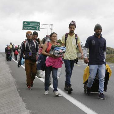 Venezuelans who do not have passports walk on the Pan American Highway after crossing the Rumichaca International Bridge from Colombia, before reaching another migration check-point, in Rumichaca, Ecuador, Sunday, August 19, 2018.