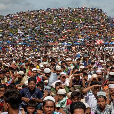 Rohingya refugees gather in the open field at kutupalong refugee camp to commemorate the second anniversary of the 2017 crisis when they were forced to flee from their northern Rakhine state homes in Myanmar escaping a brutal military crackdown. According