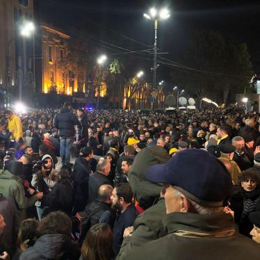 Protest rally in front of the Parliament of Georgia over failed electoral reforms.