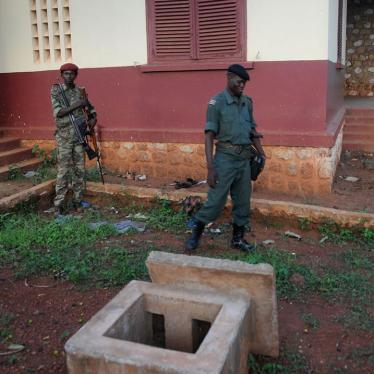Seleka fighters standing outside former President François Bozizé's villa at the Bossembélé military training center.