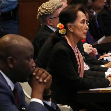 Gambia's Justice Minister Abubacarr Tambadou and Myanmar's leader Aung San Suu Kyi attend a hearing in a case filed by Gambia against Myanmar alleging genocide against the minority Muslim Rohingya population, at the International Court of Justice (ICJ).
