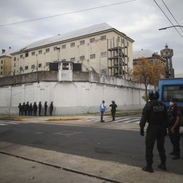 Police take position outside the Villa Devoto prison where inmates riot to protest authorities not doing enough to prevent the spread of coronavirus inside the jail in Buenos Aires, Argentina, on April 24, 2020.