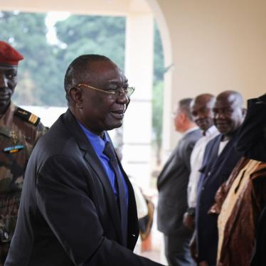 Former Central African Republic president Michel Djotodia (C) is received in Bangui on January 10, 2020 by political supporters.