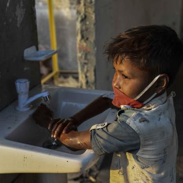 A child washing hands with anti-bacterial soap as a preventive measure against COVID-19, at Sadarghat Launch Terminal, in Dhaka, Bangladesh, on March 27, 2020.