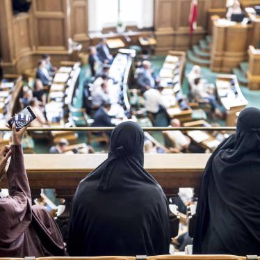 Women wearing the Islamic veil, the niqab, sit in the audience seats of the Danish Parliament, at Christiansborg Castle, in Copenhagen, Denmark, May 31, 2018. Denmark joined some other European countries in deciding to ban garments that cover the face, in
