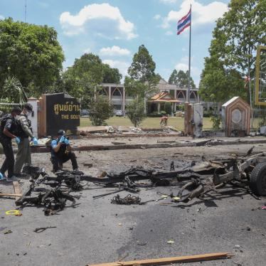 Thai crime scene investigators inspect the site of a bomb explosion in Yala, southern Thailand, Tuesday, March 17, 2020.