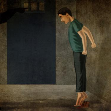 An illustration showing a boy being forced to stand with his bare heels over a plank of nails