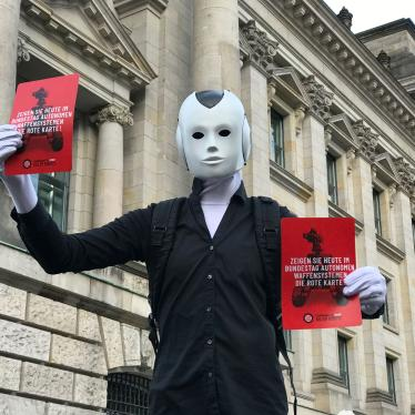 Artists and activists participate in a Campaign to Stop Killer Robots event outside Germany's parliament, February 2020.