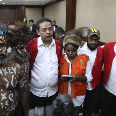 Papuan independence activists charged with treason attend their trial at Central Jakarta District Court, December 19, 2019.